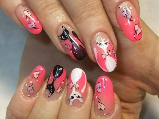 Дизайн кошка на ногтях